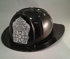 Kids Black Fireman's Hat Firefighter Fire Captain Helmet Child Size Helmet
