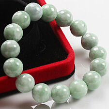 Natural Certified Grade A Jade (jadeite) 13mm Light Green Beads Bracelet