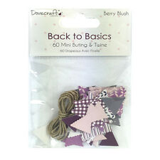 BERRY BLUSH 60 MINI BUNTING PIECES & JUTE TWINE CARD MAKING CRAFT EMBELLISHMENTS