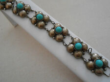 Very Old Mexico  Silver Turquoise Flower Link  Bracelet   055034