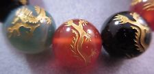 Mixed Stones Carved Golden Dragon Round Beads 14mm 3pcs