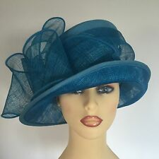 Ladies Wedding Races Mother Bride Hat Turquoise Blue Silk  Peter Bettley London