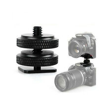 New Camera Double Deck Screw Tripod Adapter Mount Gopro Hero Nikon Canon Sony