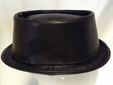 Jill Corbett pork pie hat black plonge lamb leather Handmade to order UK