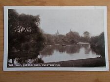 VINTAGE POSTCARD - THE LAKE - QUEEN'S PARK - CHESTERFIELD - DERBYSHIRE