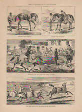 Racehorse Training, English Riders, Punch & Judy Man, 1870 Antique Art, Print,