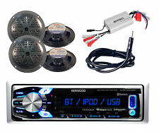 Kenwood Marine Bluetooth AUX USB iPhone Radio,4 Black Speakers,Antenna, 800W Amp