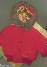 Baby Phat Girl's Red/Gold/Brown Faux Fur Jacket Size 4