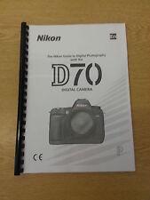 Nikon D70 Dgital Cámara plenamente Impreso Manual de usuario Guía Manual 218 Páginas A5