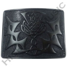 Scottish Highland Kilt Belt Buckle Swirl Celtic Thistle Knot Jet Black Finish