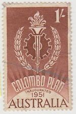 (DZ-394) 1951 AU 1/- brown Colombo plan (A)