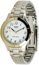 Casio Ladies 2 Tone Stainless Steel White Dial Dress Watch LTP1128G-7B New