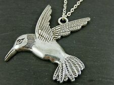 Vintage Antique Silver Sweater Long Chain Necklace Swallow Bird Kitsch Pendant