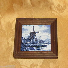 VINTAGE DELFT BLUE CERAMIC TILE TRIVET FRAMED PLAQUE WINDMILLS HOLLAND DUTCH