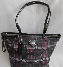 Womens Medium Coach Tartan Plaid Black Purple Glitter Tote Bag Purse Handbag
