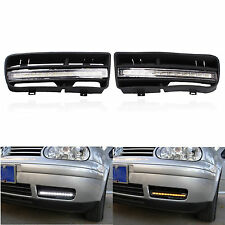 2X For VW Golf MK4 98-03 LED Fog Lights with Grill Grilles DRL Turn Signal Lamp