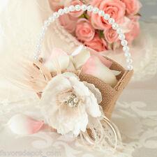 Burlap & Lace Flower Basket Flower Girl Basket