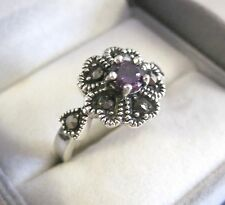 Solid Sterling Silver Marcasite + Amethyst Purple CZ Ring.Size N 1/2 Floral.