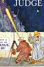 Crosby ASTRONOMY TELESCOPE STARS VENUS Peeping Tom 1924 Matted JUDGE Art Cover