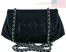 Chanel Black Caviar Half Moon WOC Wallet Chain Purse Bag 62171