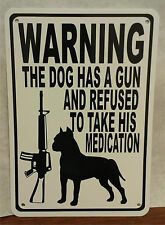 "Warning Dog Gun Bullet Protection AR 15 7""X10"" Man Cave Polystyrene Sign SA08"