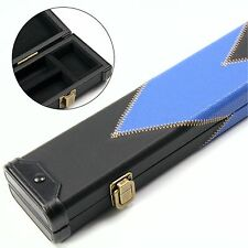 LUSSO Blu & Nero ARROW 2pc patch in pelle effetto Snooker Stecca Da Biliardo Custodia