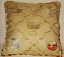 French Country Cottage Garden English Cushion Paris Tea Cup Gold Pillow