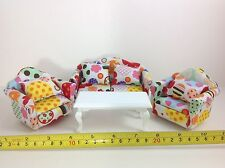 Dollhouse Miniature Living Room Furniture Colorful Sofa/Cushions/Table 4pcs 1:12