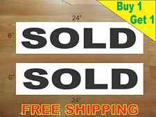 """SOLD BLACK 6""""x24"""" REAL ESTATE RIDER SIGNS Buy 1 Get 1 FREE 2 Sided Plastic"""