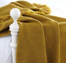 Ocre jaune moutarde gold premium fringed throw blanket 120x170cm jour suivant des