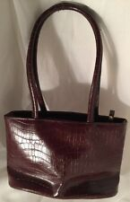 Leslie Fay Accessories Handbag Faux Alligator Skin Brown