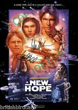 STAR WARS A New Hope SIGNED AUTOGRAPH MOVIE FILM POSTER A2 594 x 420mm (Rare)