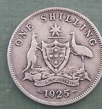 1925 Australian Silver ONE Shilling 1/- ( Shilling ) KING GEORGE V  (very Nice)