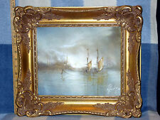 "VINTAGE GILDED FRAME ROB HUXLEY SIGNED OIL ON CANVAS ""OLD SHIPS AT DAY'S END"""""
