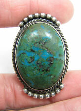AMAZING Huge Vintage Navajo Green Blue Turquoise Sterling Silver Ring Size 13