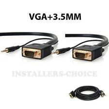 10 FT SVGA SUPER VGA M/M Male Monitor Cable 3.5mm Audio Monitor TV 10'