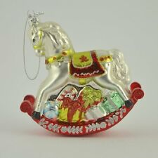 Gisela Graham Glass Rocking Horse Vintage Christmas Tree Hanging Decoration