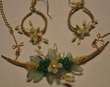 Statement Wedding Necklace Earrings Set Natural Real Opals Jade pearls 14k GF