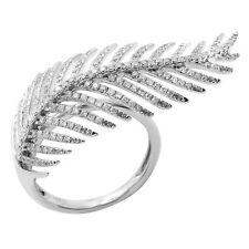 WIDE 14K WHITE GOLD PAVE DIAMOND FEATHER LEAF RIGHT HAND COCKTAIL FASHION RING