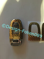 Carbone chrome gold film clé Audi 8k a3 4g rs q7 8pa4 s4 a5 8t a6 4f a8 q5