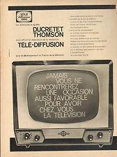 Publicité Advertising 1960  DUCRETET THOMSON téléviseurs en TELE DIFFUSION