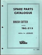 1988 & EARLIER TANAKA BRUSH CUTTER MODEL TBC-215 PARTS MANUAL