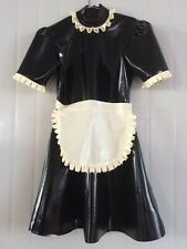 latex Rubber Black and White Lace Fashion Cute Maid Dress Size XS-XXL
