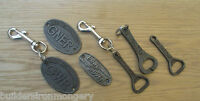 VINTAGE OLD ANTIQUE STYLE CAST IRON KEYRINGS KEY RING/PLAQUE/OPENER RUSTIC
