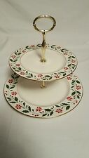 1986 Royal Doulton Holly Pattern 2 Tier Cake/Tidbit Plate/Christmas/Excellent