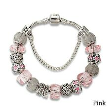 Open Pandora Box SILVER PINK & DIAMANTE European Charm Bracelet 19cm Mothers Day