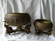 2 Antique Solid Brass Religious Ceremony Incense Burner Buddha Temple Bowls