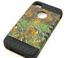 iPHONE 4 4G 4S - HARD & SOFT RUBBER HYBRID IMPACT CASE BLACK GREEN MOSSY LEAVES