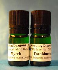 3% Frankincense & Myrrh 2 Essential Oils in jojoba 5mls Green Glass Eurodroppers