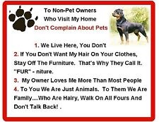 Funny Dog Rottweiler  House Rules Refrigerator / Magnet Gift Card Idea